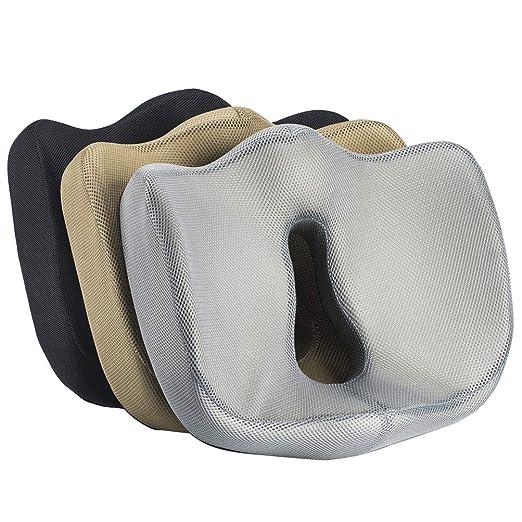 Cojín para Sentarse de 100% Espuma viscoelástica - Ergonómico, reducción de la tensión, Dolor Parte Baja de la Espalda - para Sentarse, Silla de la ...