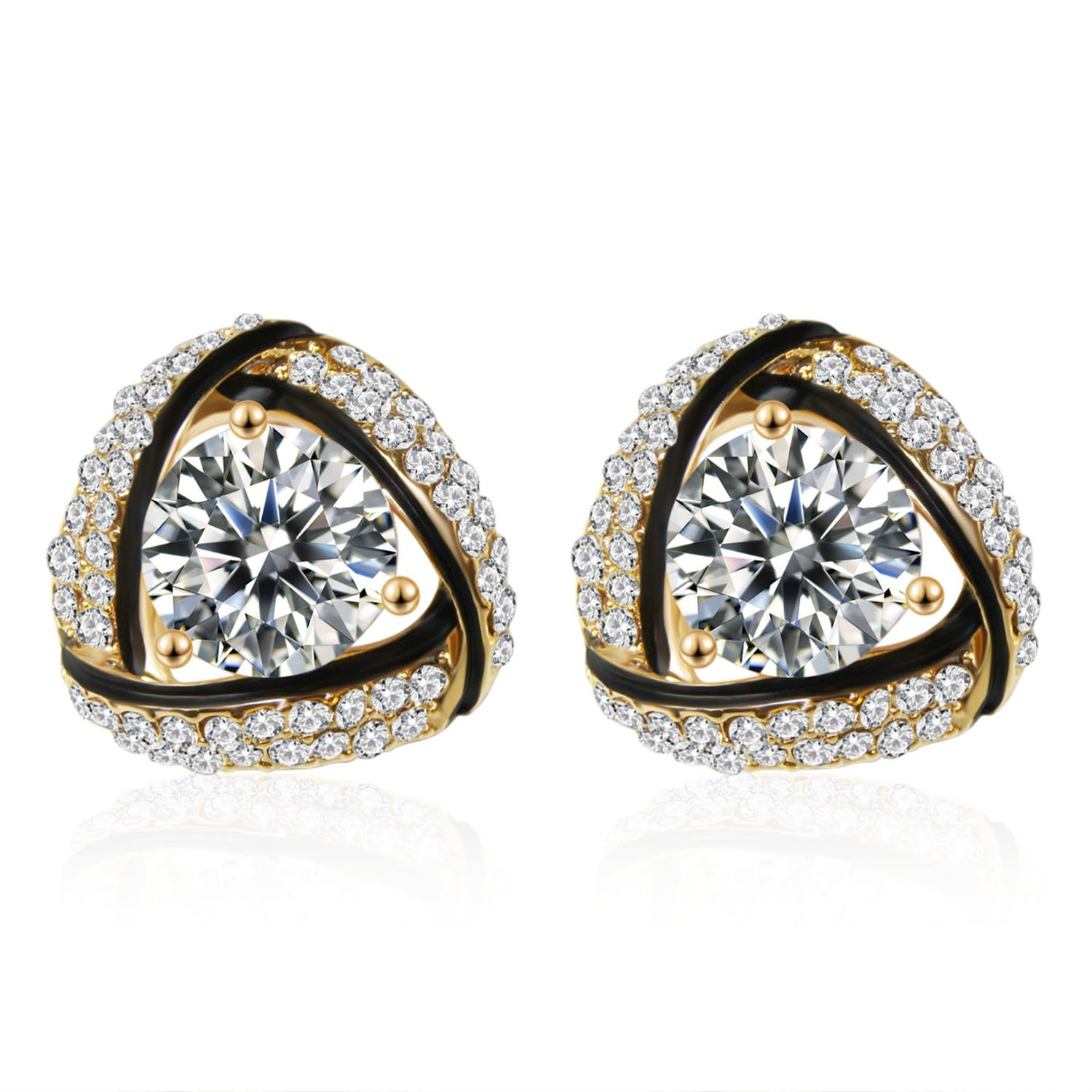 SBLING 18K Gold Plated Cubic Zirconia Triangle Stud Earrings (3.75 cttw)