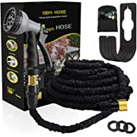 Expandable Garden Hose --Liwiner 100 FT Flexible & Lightweight Retractable Water Hose with 8 Function Spray Nozzle /Leakproof Brass Fittings /Anti-Burst Extra Strength Fabric For Washing Car /lawn/Floor/Window