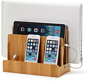 Great Useful Stuff Eco Bamboo Multi-Device Charging Station Dock & Organizer - Multiple Finishes Available. for Laptops, Tablets, and Phones | GUS San Francisco CA