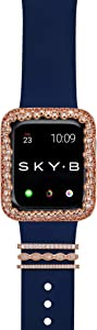 SKYB Champagne Bubbles Apple Watch Case with Paris Watch Band Charms and Silicone Sports Band Set - 14K Rose Gold Plated with Cubic Zirconia for 44mm Apple Watch Series 4, 5