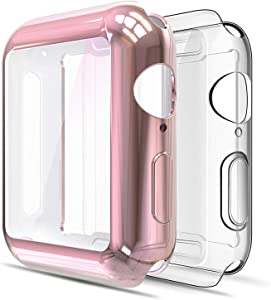 Simpeak Soft Screen Protector Bumper Case Compatible with Apple Watch 40mm Series 4 Series 5 Series 6 / SE, 2 Pack, Full Coverage Case Replacement for iWatch 40 mm, Clear+Rose Gold