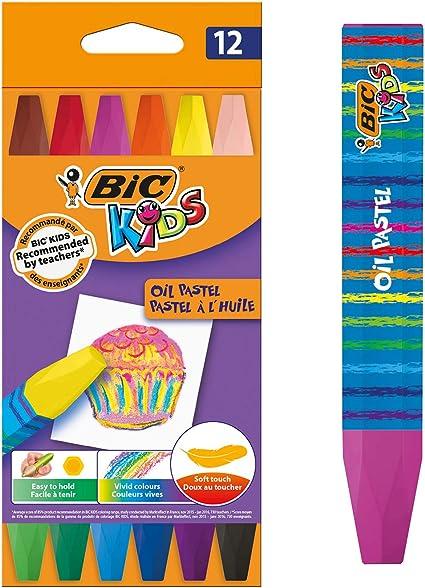 BIC Kids Oil Pastels Ceras Blandas - colores Surtidos, Blíster de 12 unidades: Amazon.es: Oficina y papelería