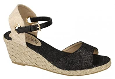 9f5f15b4f341 Ladies Womens New Espadrille Mid Wedge Heel Ankle Strap Sandals Shoes Size  3-8 -
