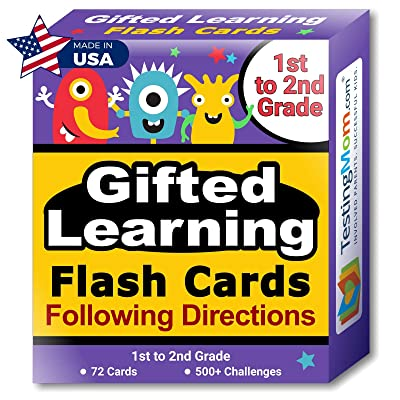 TestingMom.com Gifted Learning Flash Cards – Following Directions for 1st Grade - 2nd Grade – Practice for Grade 1 - Grade 2 CogAT Test, Iowa Test (ITBS), OLSAT Test, NYC Gifted and Talented, WPPSI: Toys & Games