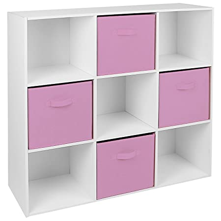High Quality Hartleys White 9 Cube Unit U0026 4 Pink Storage Drawers