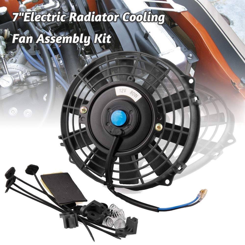 """Ruien 7"""" Electric Radiator Cooling Fan Assembly Kit,12V 80W 700CFM Push/Pull Engine Fan Mounting Set Straight Blades for Automotive Car Truck(Thicknes:1.97"""")"""