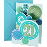 Hallmark 21st Birthday Greeting Card Stamped Circles