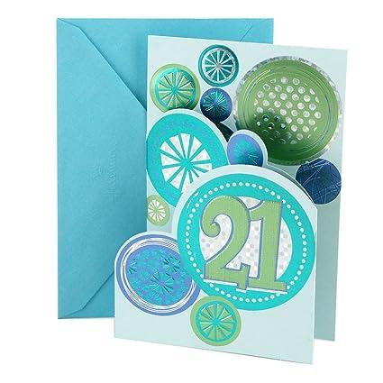 Amazon Hallmark 21st Birthday Card Stamped Circles Office