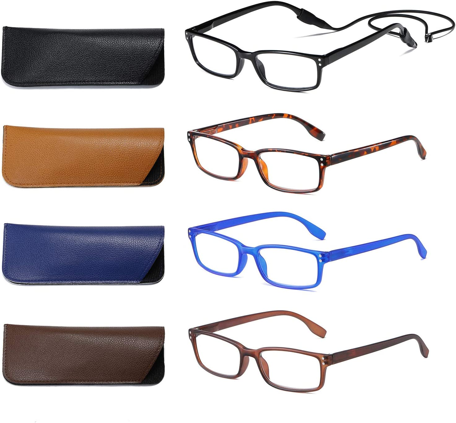 SOCTICK Reading Glasses 4-Pack Lightweight Spring Hinge Onepower Readers for Men and Women,+2.50: Health & Personal Care