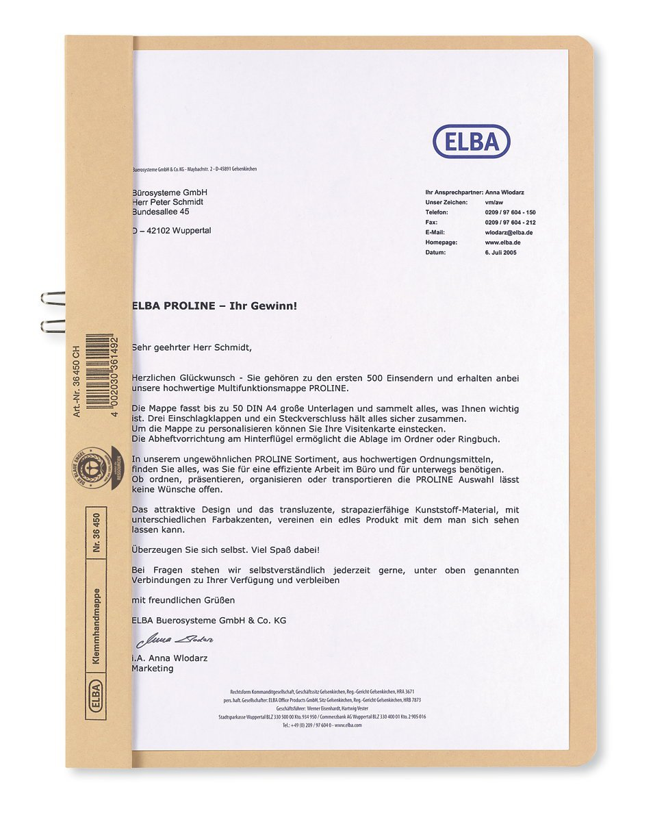 Elba 36450ch Manila Folder For Approximately 10 Din A4 Pages