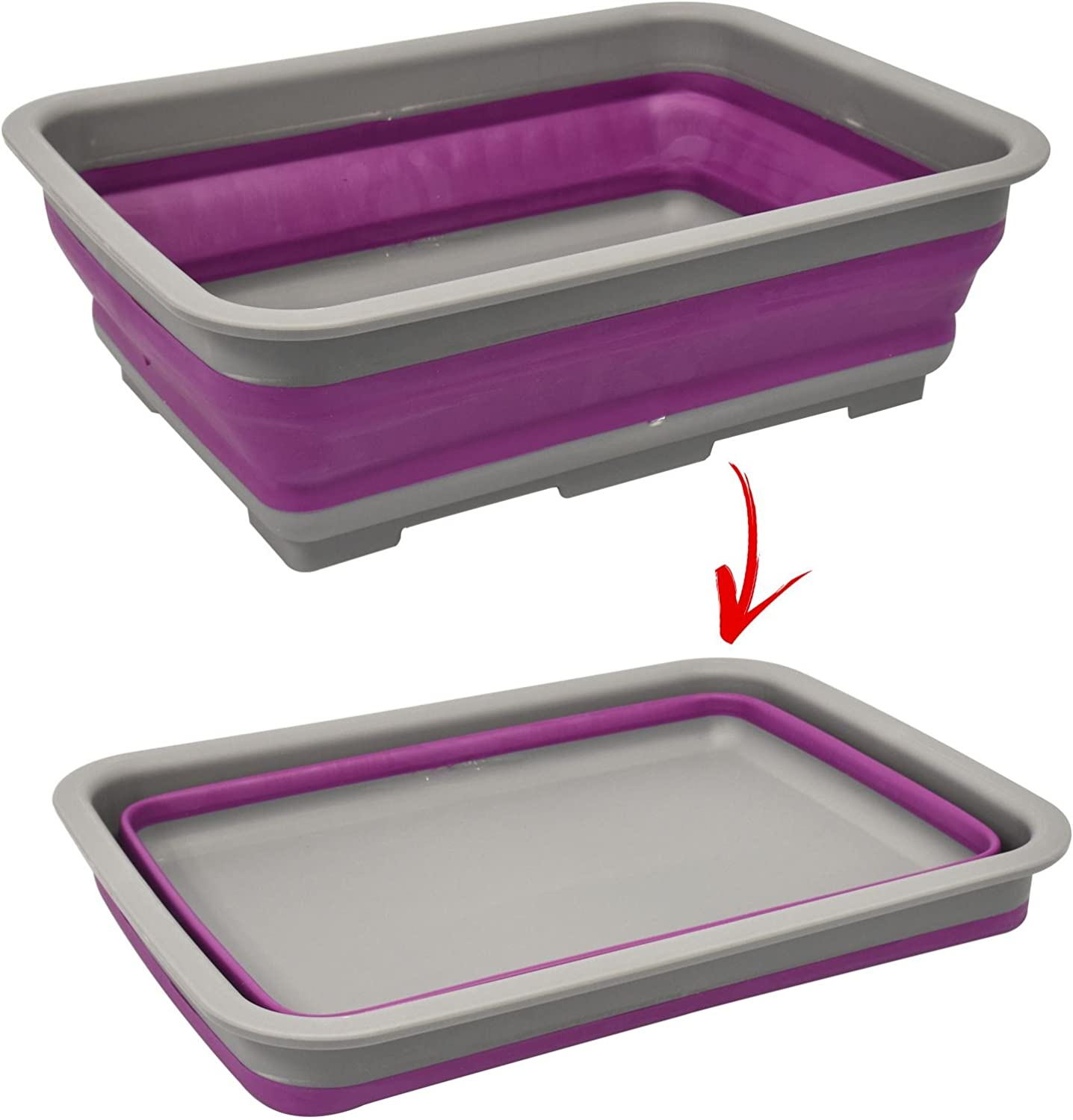 PURPLE 10 Litre Collapsible Wash Up Bowl Kitchen Supplies Camping Outdoor Picnic