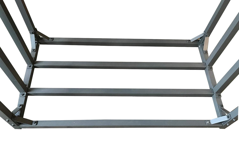4 SRM Stapelhilfe Aussen mit Wetterschutz QUICK STAR 2 St/ück Metall Kaminholzregal Anthrazit 143 x 70 x 145 cm Garten Kaminholzunterstand 2,8 m/³
