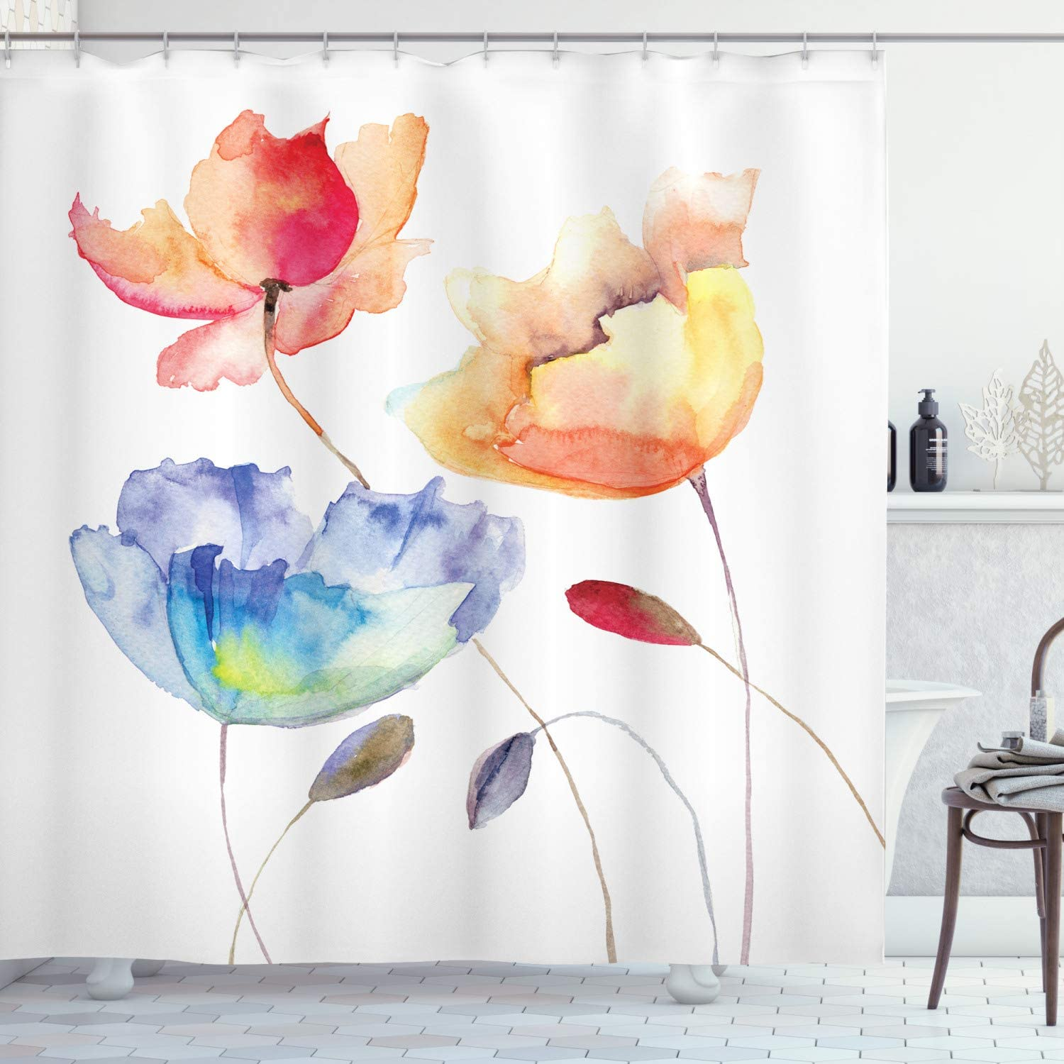 "Ambesonne Watercolor Flower Shower Curtain, Summer Flowers in Retro Style Painting Effect Nature is Art, Cloth Fabric Bathroom Decor Set with Hooks, 70"" Long, Orange Blue Red"
