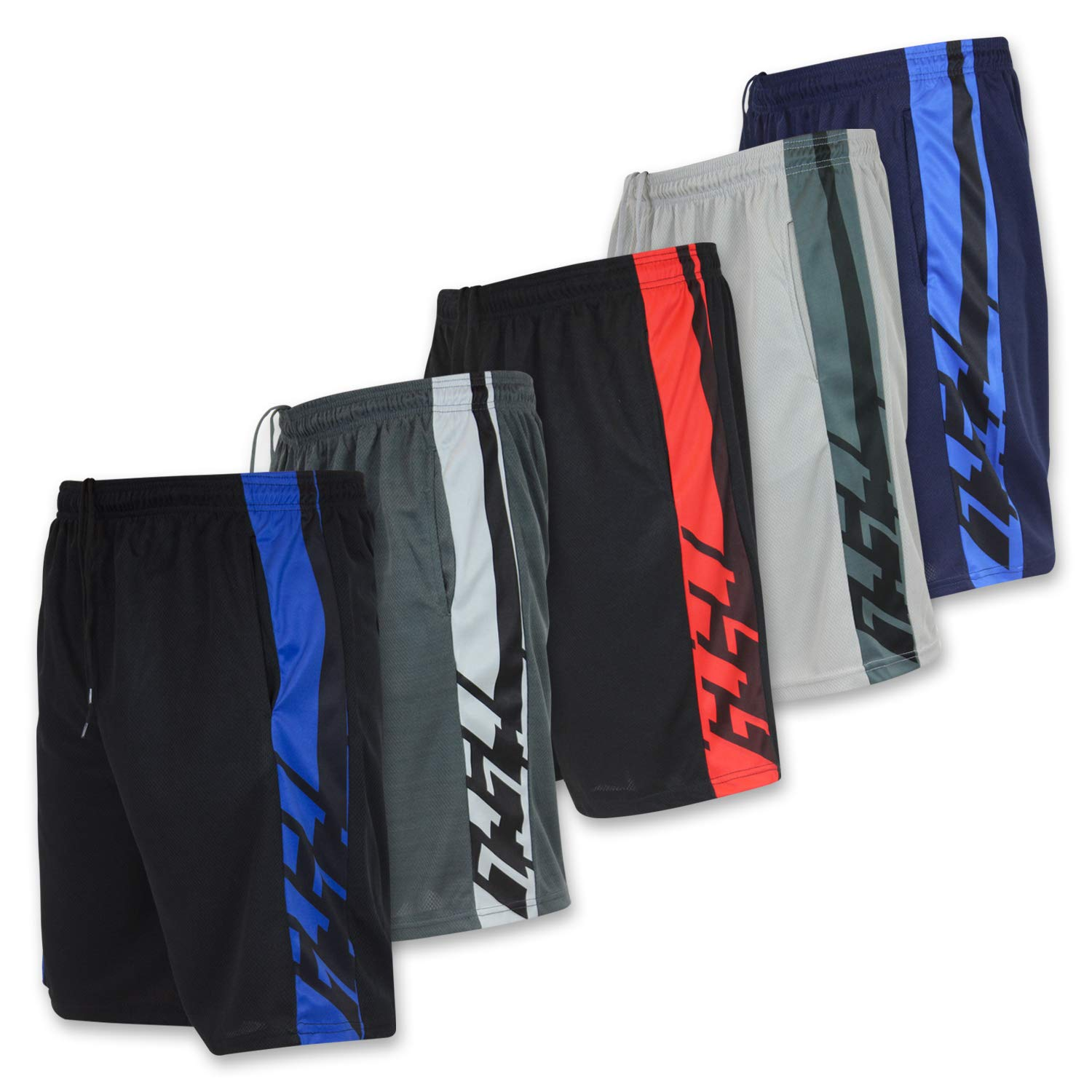 Men's Active Athletic Basketball Essentials Performance Gym Workout Shorts with Pockets - Set 2-5 Pack, S