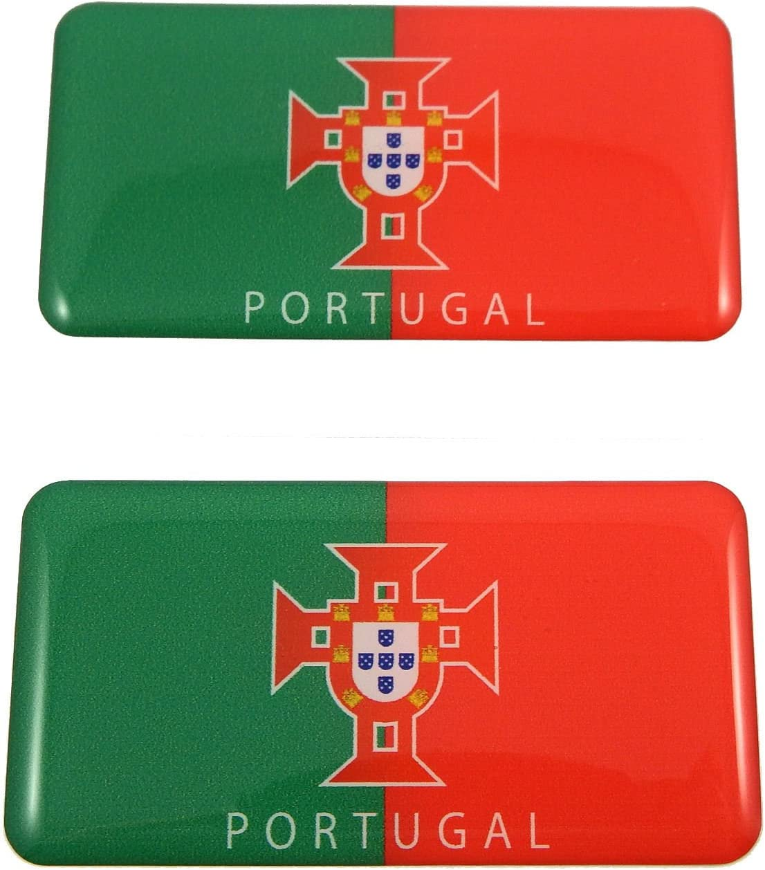 2 DOMED 3D PORTUGUESE OVAL STICKERS PORTUGAL FLAG