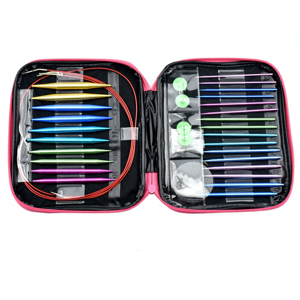 CO-Z Circular Knitting Needles Set, Double Pointed Knitting Needles with Long Cables, Colorful Full Sizes Interchangeable Knitting Needles for Crochet Yarn, Knitting Accessories Kit for Beginners
