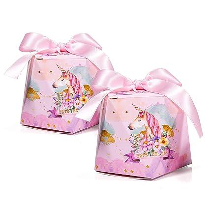 30 x Cajas de Caramelo Unicornio con Cintas, MOOKLIN Forma de Diamante Cajas de Favor