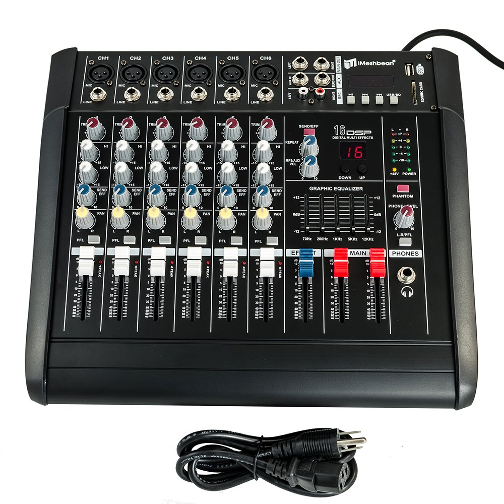 iMeshbean 2000 Watt 6 Channel Professional Powered Mixer Power Mixing Amplifier Amp 16DSP with USB Slot M#02 USA