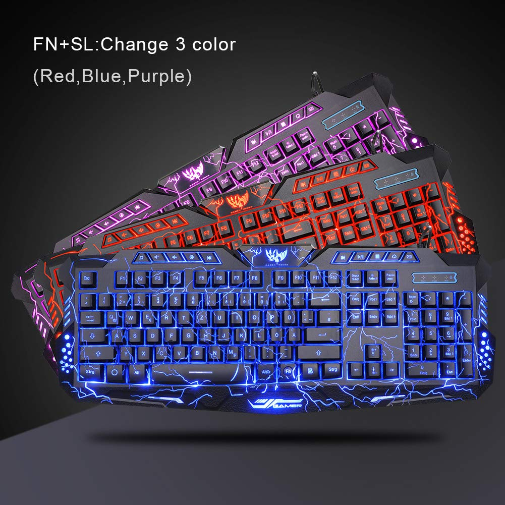 3eb9e692e8d Gaming Keyboard, BlueFinger Mechanical Computer Keyboard USB Wired LED 3  Color Red/Blue/Purple Backlit Gamer lighted Keyboard with Customized  MousePad ...