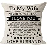 Anniversary Birthday to My Wife I Love You You are Special to Me Love Husband Cotton Linen Square Throw Waist Pillow…