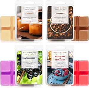 LA BELLEFÉE Scented Wax Cubes,Wax Melts, Food Scented Wax Melts, Natural Soy Wax Cubes, for Warmer(4x2.5oz, Caramel, Espresso, Raspberry&Cinnamon, BlackCurrant) ,for Spa,Bath, Yoga,Aromatherapy