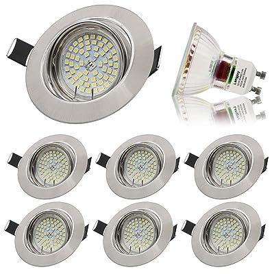 6Pack Plafond Blanc Plafonnier Encastré Plafonnier Spot Intégré 3.5W LED Blanc 6000K Module LED Profondeur de Montage 25mm pour GU10 [Classe Énergétique A +] par Lengjoy (6000k silver)