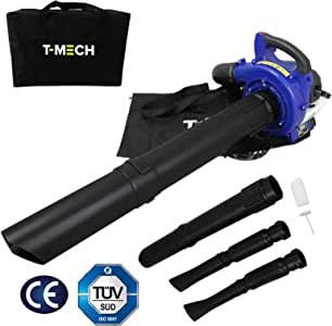 T-Mech 3-en-1 Sopladora de Hojas portátil, Aspiradora y Trituradora de Hojas de Gasolina 26cc | Bolsa de Almacenamiento Gratuita: Amazon.es: Jardín