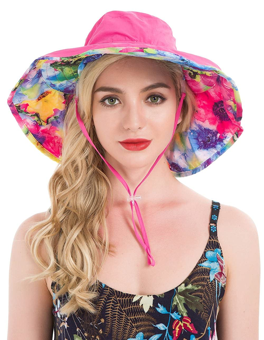 Sun Hat Wide Brimmed UV Protection Flap Hat with Ponytail Hole Lenikis Womens UPF50