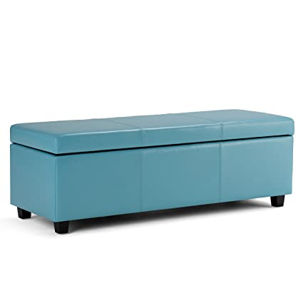 Simpli Home Avalon Rectangular Faux Leather Storage Ottoman Bench, Large,  Blue