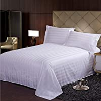 Urban Space - Regal 220 TC 100% Organic Satin Cotton Double Bedsheet with 2 Pillow Covers, Satin Stripes