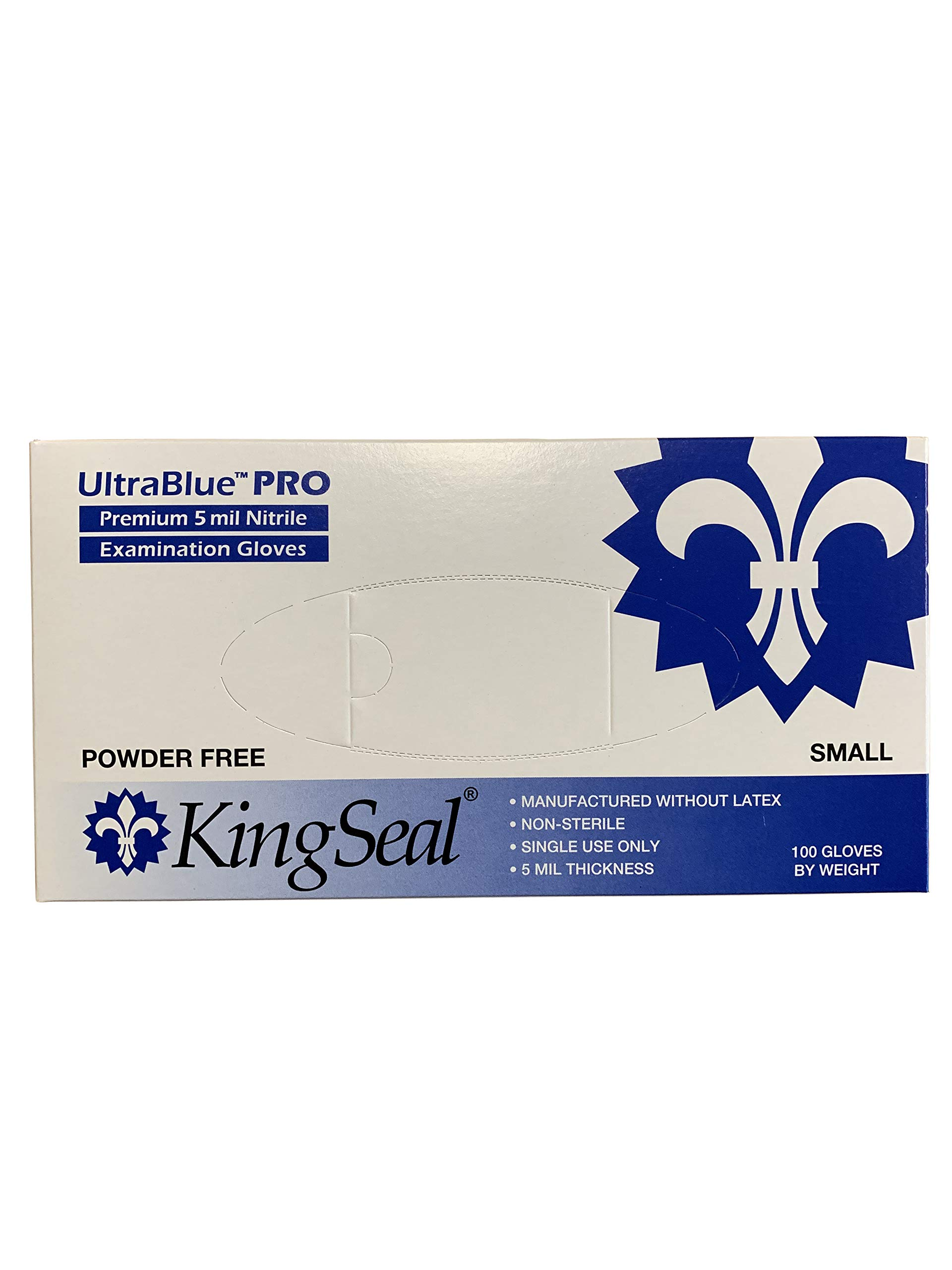 KingSeal UltraBlue PRO Indigo Blue Nitrile Medical Grade Exam Gloves, Latex Free, 5 mil, Textured, Size Small - 10 boxes of 100 gloves each (1000 pcs total)