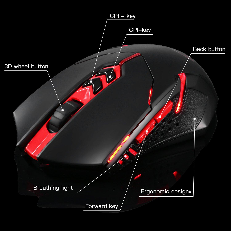 teclado y ratón inalámbrico Gaming con USB receptor minúsculo, conectividad inalámbrica avanzada de 2.4 GHz, Ultra-delgado con reposamanos blando, ...