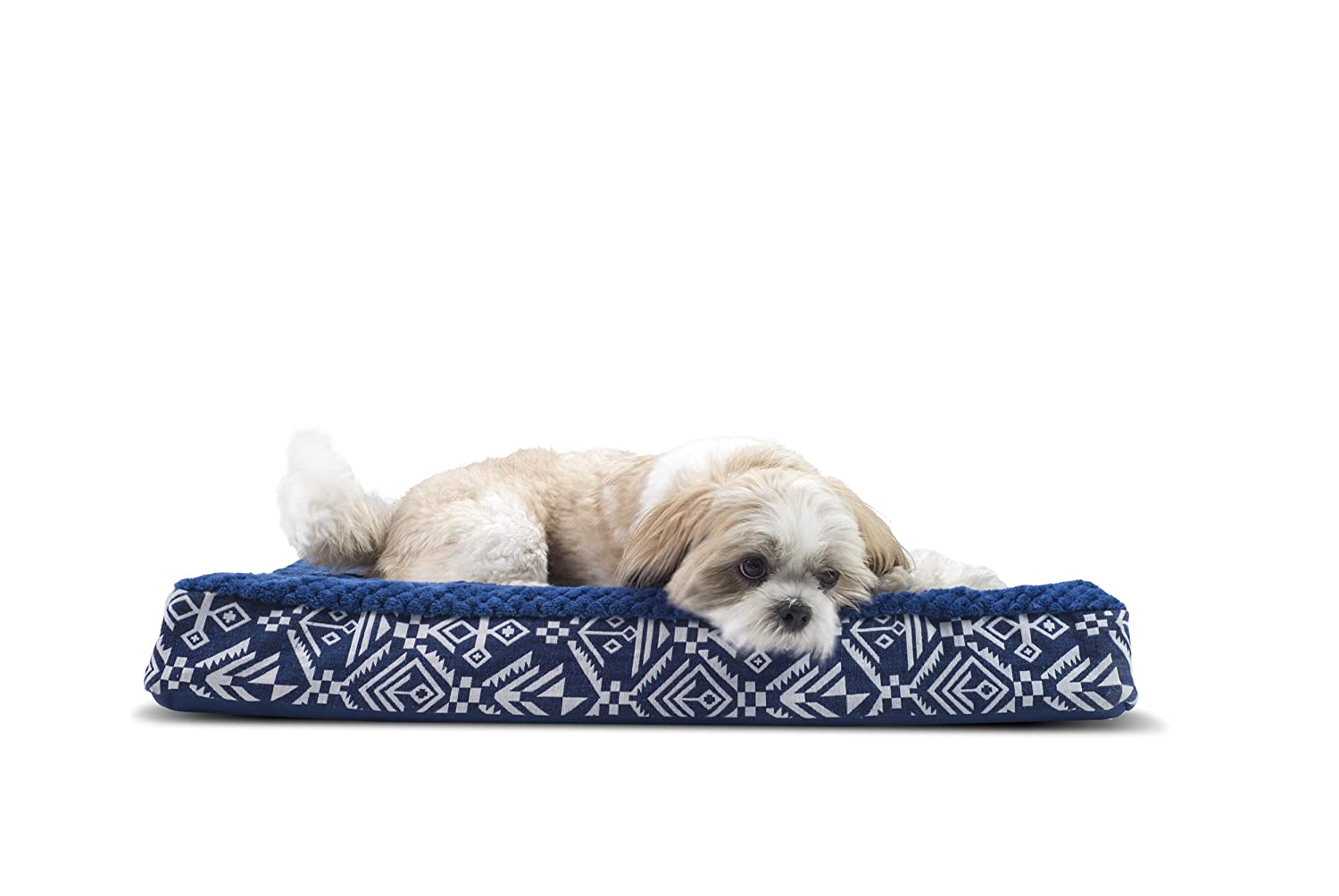 FurHaven Pet Dog Bed   Deluxe Orthopedic Plush Kilim Mattress Pet Bed for Dogs & Cats, Southwest Indigo, Medium