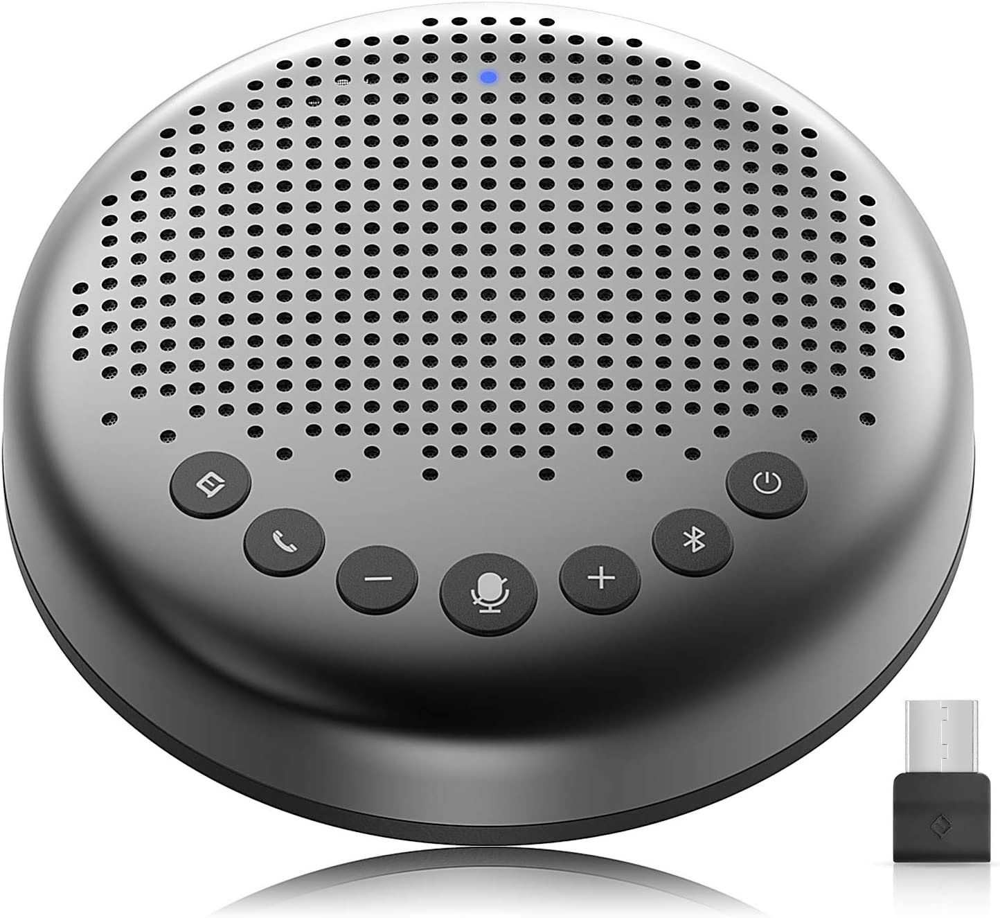 eMeet - Altavoz Bluetooth para conferencias - USB Manos Libres para 5-10 Personas Speakerphone 360 ° reconocimiento de Voz con USB Dongle, para Zoom, Skype, comunicación VoIP PC, etc