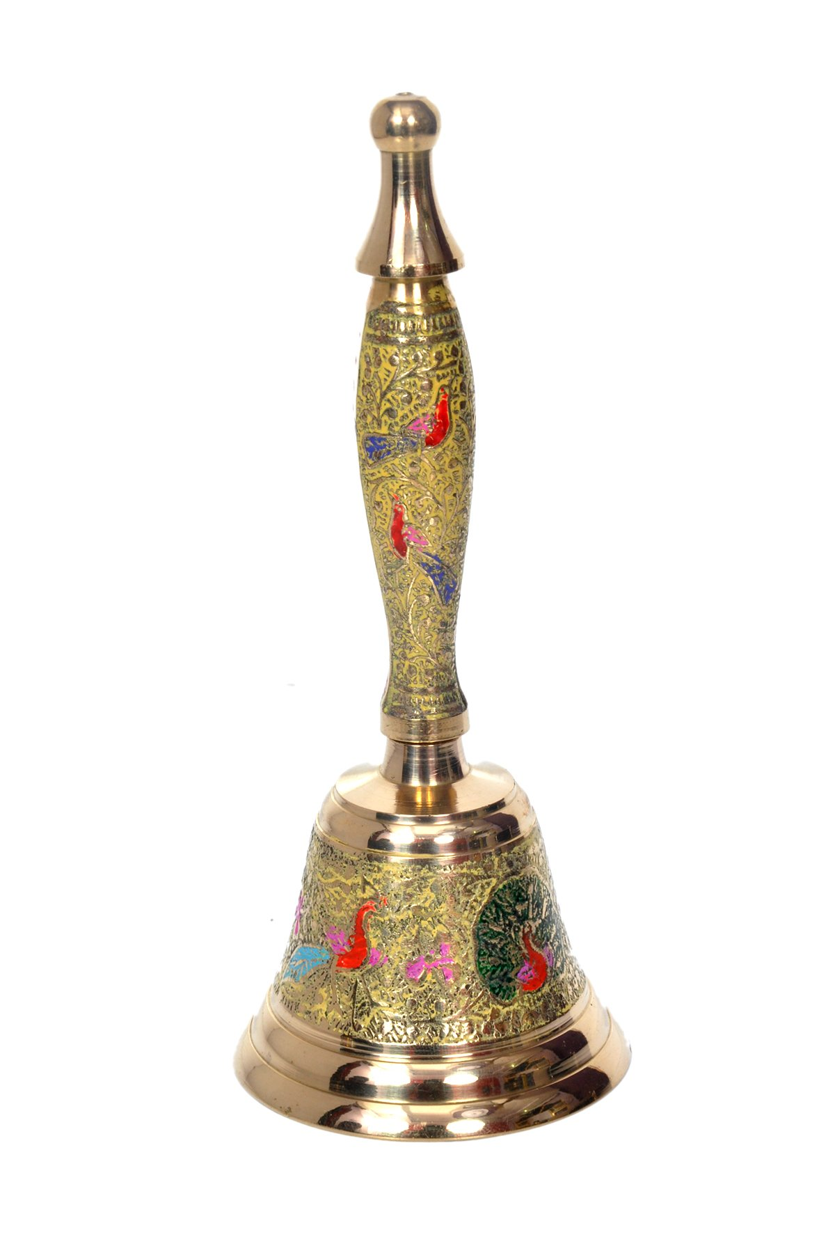 Hashcart Indian Traditional Colorful Musical Hand Held Brass Bell/Ghanti for Puja/Pooja, Prayer, Indian Festivals & Christmas, Yellow