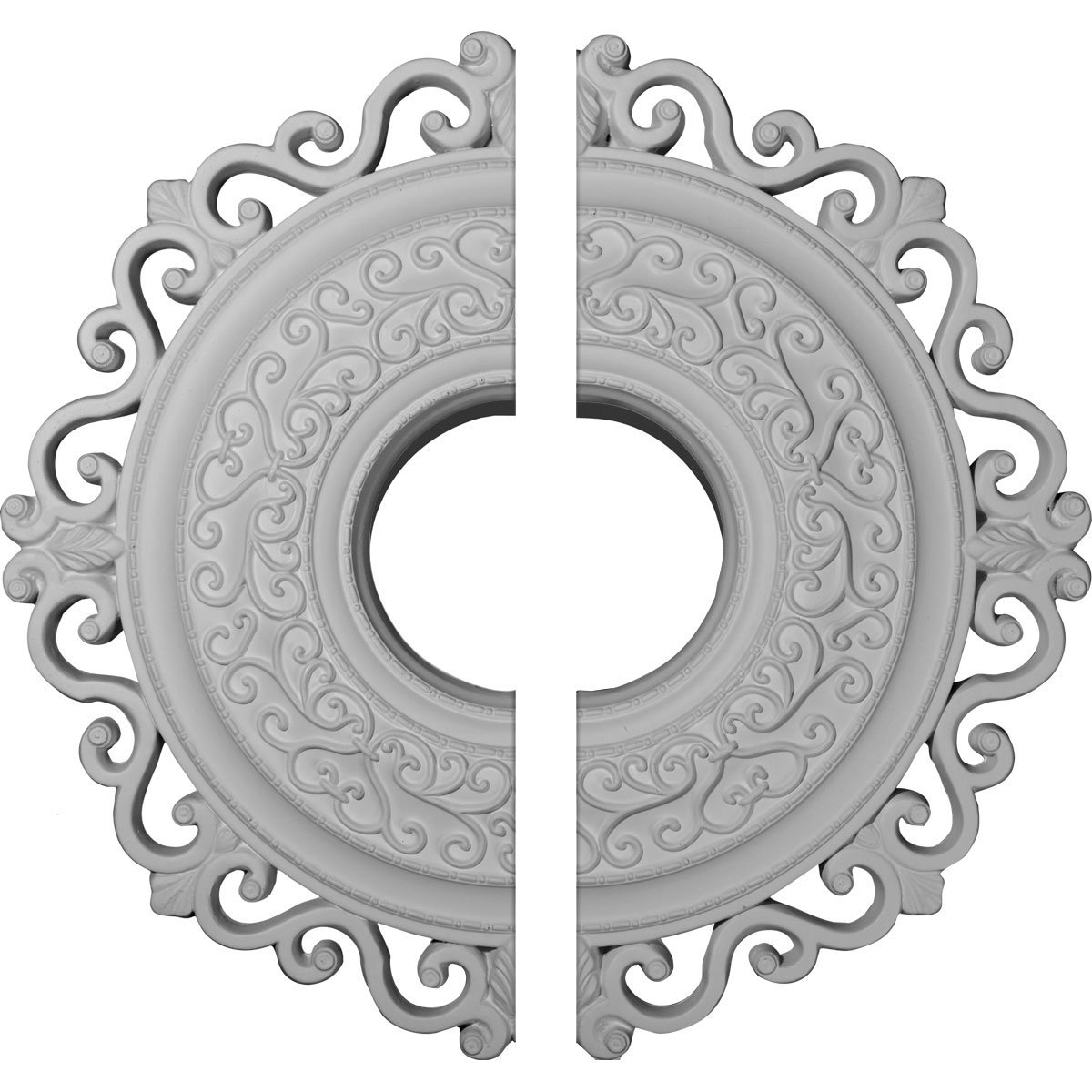 Ekena Millwork CM22OR2 22''OD x 6 1/2''ID x 1 3/4''P Orrington Ceiling Medallion, Fits Canopies up to 6-1/4'', 2 Piece