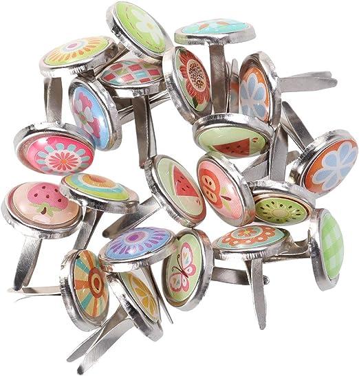 Mini Brads,100 Pack Multicolor Scrapbooking Brads de Metal Encuadernadores Redondos Brads Papel Artesania Sujetadores para Manualidades
