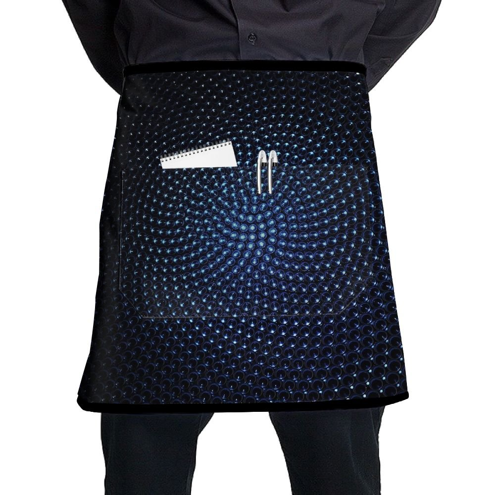 Waist Short Apron Half Chef Apron Blue Kaleidoscope Steel Ball Cooking Apron With Pockets Home Kitchen Cooking Pinafore