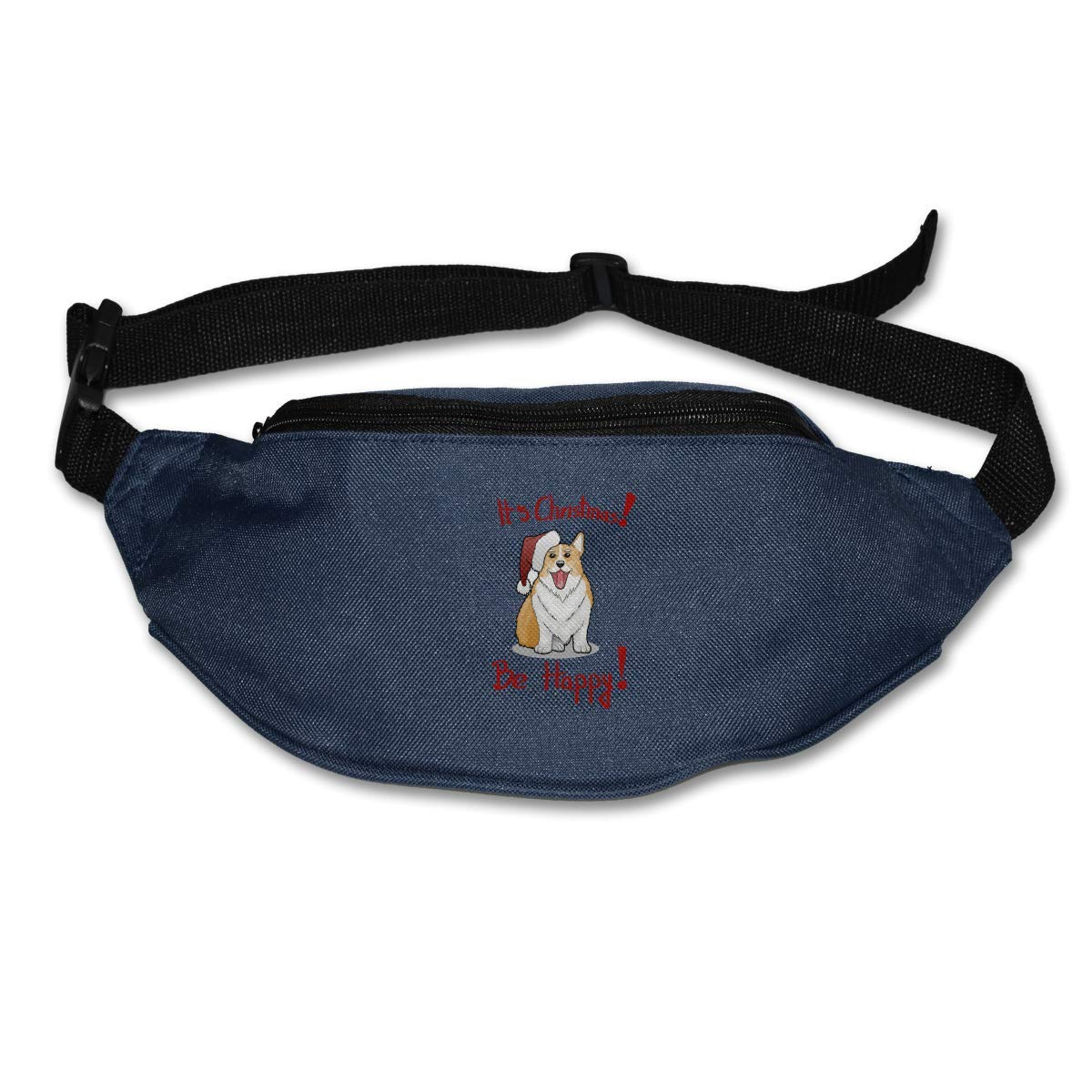 Waist Purse Christmas Dog with Red Hat Unisex Outdoor Sports Pouch Fitness Runners Waist Bags