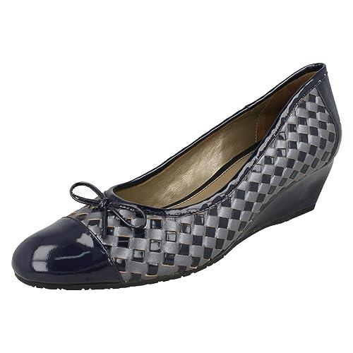 Dal Zapatos De Vestir Van Para Azul Marino Cuero Mujer ALq4c5R3j