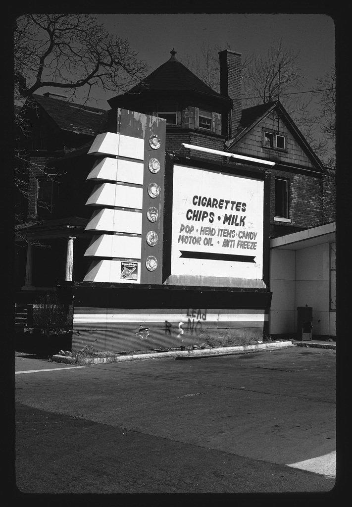 Vintography 8 x 12 BW Photo of: Cigarette shop sign, Woodward, Michigan 1986 Roadside America Margolies, John 23o