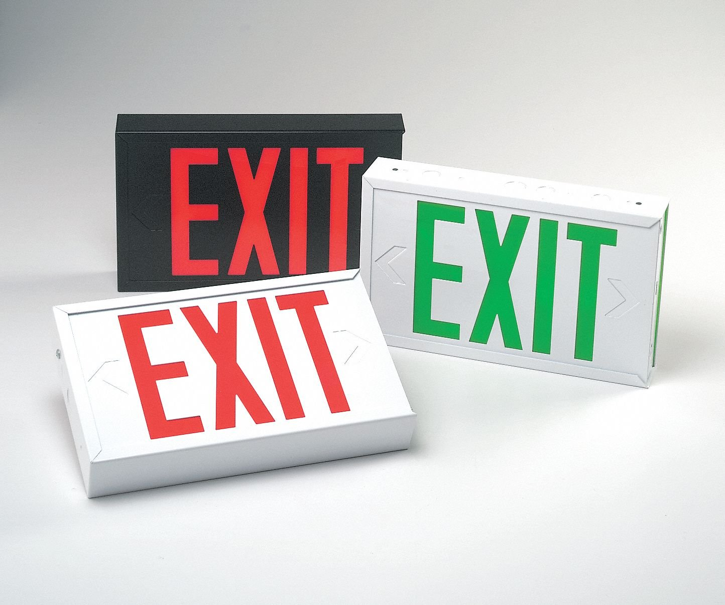 2 Face LED Exit Sign, White Steel Housing, Red Letter Color