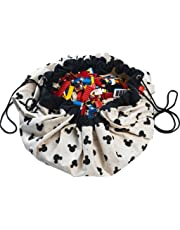 """Play Mat and Toy Storage Bag - Durable Floor Activity Organizer Mat - Large Drawstring Portable Container for Kids Toys, Books - 55"""", Mickey, Black"""