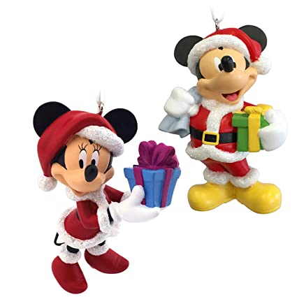 hallmark disney mickey mouse and minnie mouse santa christmas ornament