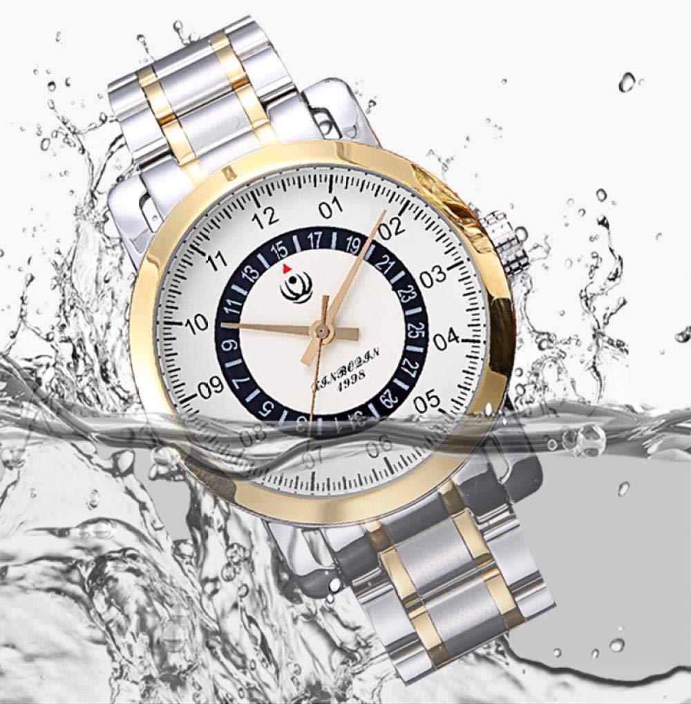 Herrklockor, rund mode herr kvartsklocka med kalender vattentät rostfritt stålklocka F