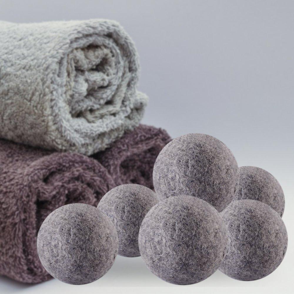 Secador de bolas de lana de oveja, Premium reutilizable Natural suavizante, 100% puro orgánico reduce el tiempo de secado y libre de químicos (6 unidades, ...