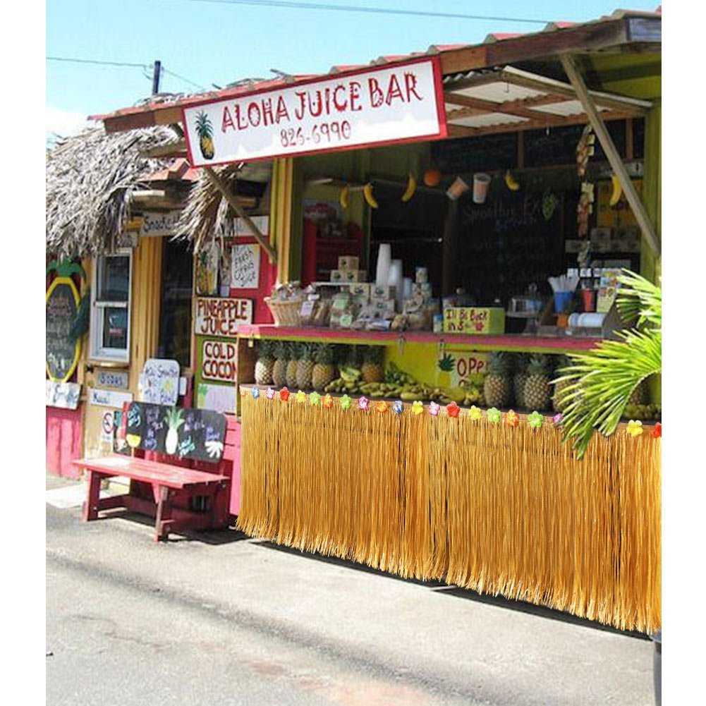Gold 9.6ft Hawaiian Luau Hibiscus Gras Tisch Rock mit 26 Faux Seidenblumen f/ür BBQ Tropischen Garten Strand Sommer Tiki Party Dekoration YQing Hawaii Luau Tischr/öcke