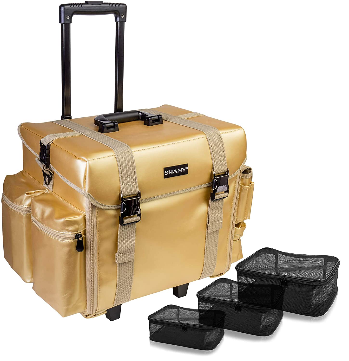 SHANY Makeup Artist Soft Rolling Trolley Cosmetic Case with Free Set of Mesh Bags - Gold Medal