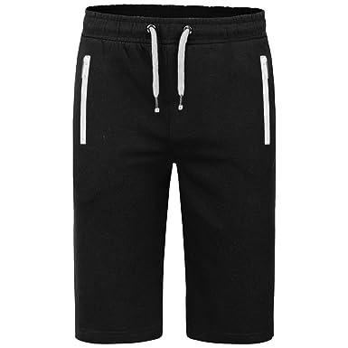 Mens Plain Front Zip Pockets Sweat Jog Summer Knee Length Fleece Jogger Shorts
